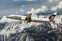 ALASKA AIRLINES BOEING 737 IN FLIGHT 8x12 SILVER HALIDE PHOTO PRINT
