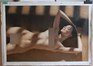 "Fine art original oil painting nude girl lying on floor soft sunlight 24""x36"""