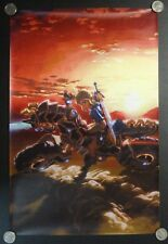 Colorful Zelda FABRIC Video Game Poster Banner Link On Armored Horse Motorcycle