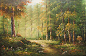 Canvas Wall Art Modern Decor Oil Painting Hand Painted,Forest,61 X 91 cm