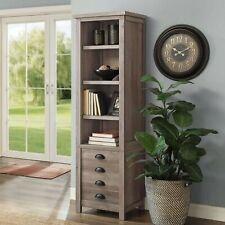 """Tall Narrow Modern Farmhouse Tower Bookcase 72"""" Storage Cabinet Rustic Gray 1 Pc"""