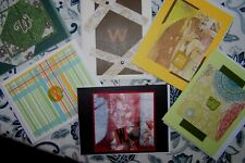 """6 Unique Handcrafted Cards Monogram Initial """"W"""" Quality Cardstock"""