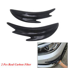 2 x Real Carbon Fiber Car Front Bumper Splitter Shark Fins Spoiler Canards Chin
