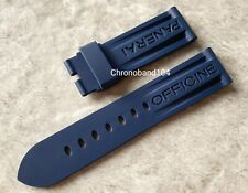 Genuine OEM Officine Panerai 24/22mm Blue Rubber Watch Strap for Tang Buckle