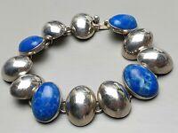 Massives Armband 925 Silber Mexico Handarbeit 4 blaue Natursteine besetzt /A328