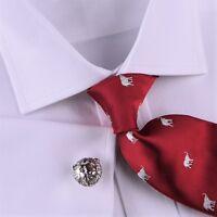 Luxury White Herringbone Men's Business Shirt Hot Boss Style Free Designed Tie