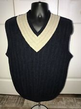 Greg Norman Golf Navy Blue and Tan Sleeveless V-Neck Sweater Vest Size M