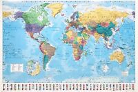 """MAP OF THE WORLD LAMINATED LARGE POSTER 61x91cm / 24""""x36"""" FLAGS WALL DECOR PRINT"""