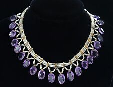 ANTIQUE FRENCH AMETHYST & SEED PEARL FESTOON NECKLACE, 1910, ORIGINAL ITEM
