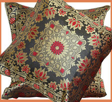 Set of two silk brocade pillow cover flower motif black, red, gold from India