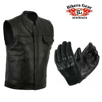 Bikers Gear Motorbike Motorcycle Heavyweight Leather Vest Jacket & Short Gloves
