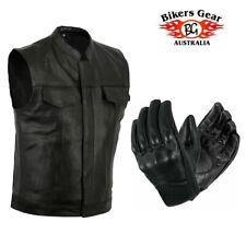 Bikers Gear Motorbike Motorcycle Heavyweight Leather Vest Jacket & Short Gloves