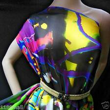 by 0.5 Yard 100%Pure Silk Chiffon Fabric Cloth Wonder Circus Print-npc 34614