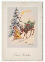 Merry Christmas Card Baby Vintage Child Angel Fawn Stella Comet