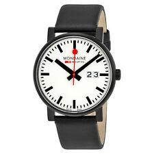 Mondaine Evo White Dial Black Leather Mens Watch A627.30303.61SBB