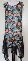 TS TAKING SHAPE Black/Floral Sheer Sleeveless Tunic/Dress Size 18