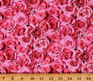 Cotton Roses Valentine's Day Flowers Floral Red Fabric Print by the Yard D379.49