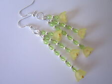 Lungo Goccia/Dangle Earrings-GIALLO LUCITE FIORI - 3 fili Narcisi