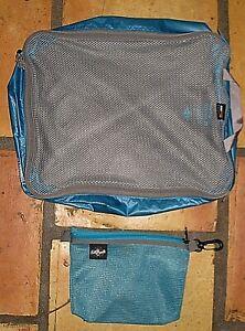 LOT 2 EAGLE CREEK PACKING BLUE CORDURA NYLON TRAVEL CUBE COSMETIC TOILETRY BAG