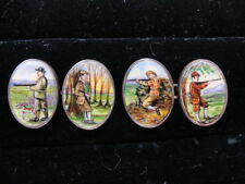 Estate Signed British Silver Enamel HUNTERS Hand-Painted Double-Sided Cufflinks