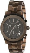 New DKNY Chronograph Brown Acrylic Band Date Women Dress Watch 40mm NY8164 $135