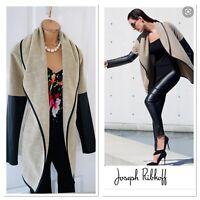 JOSEPH RIBKOFF Beige Jacket With Faux Leather Sleeves Uk Size 10