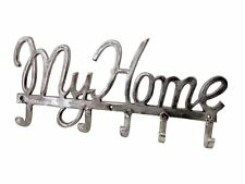 Heavy Duty 5 Hook Coat Clothing hanger Forged Nickel Vintage Silver - MY HOME