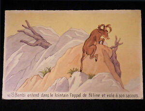 Disney Frameable Art Postcard Bambi Vintage circa 1950s France