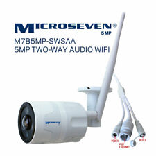 Microseven 5MP WiFi Outdoor IP Camera 2 Two Way Audio+128GB Slot Work with Alexa