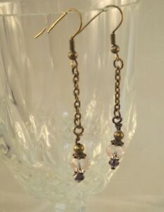 Bronze tone pink crystal drop dangle earrings xmas bridesmaid gift for her