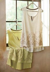 NWT Soft Surroundings Padma Beaded Tank PL Ivory Color