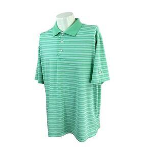 Peter Millar Men's Summer Comfort VNGC Logo Green Stripe Golf Polo Shirt XL