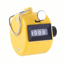 2x New 4 Digit Hand Tally Counter Manual Clicker Yellow Palm Golf #121