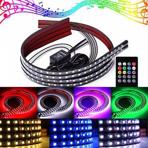 "4x Car LED Strip RGB 8 Color Underglow Kit Underbody Accent Light 36"" & 48"" S3"