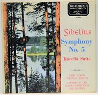 Sibelius Symphony No. 5 Karelia Suite Vinyl LP Richmond B19036
