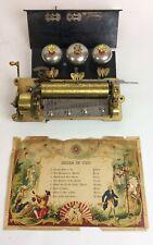 Antique B.H.A. 8 air Swiss music box movement Bells in Vue
