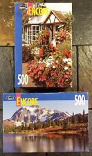 RoseArt Encore 500 Piece Jigsaw Puzzles: Oxfordshire Flowers & Mt. Baker Forest