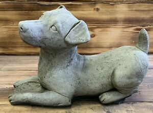 STONE GARDEN LAYING JACK RUSSELL DOG STATUE ORNAMENT