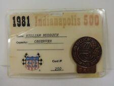 1981 Indianapolis 500 Bronze Pit Badge USAC Observer William Ruddick Backup Card