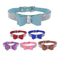 FJ- SUEDE LEATHER RHINESTONE DIAMANTE DOG COLLAR  BOW TIE CAT PUPPY SMALL PET ST