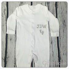 PERSONALISED Baby Sleepsuit Initials footprint Boy Girl ANY LETTER Gro Gift New