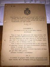 REGIO DECRETO PROROGA ALLE VARIANTI ALLA LEGGE ORDINAMENTO DEL REGIO ESERCITO