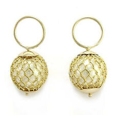 14k YELLOW LOOP AND GOLD FILLED MESH BEAD EARRING CHARMS