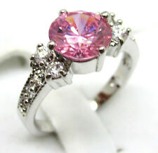 Women's fashion jewelry 10KT white gold filled pink ruby ring engagement SZ:8