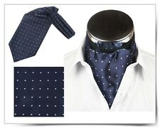 SALE Men Wedding Formal Cravat Ascot Scrunch Self Neck Tie Navy Blue Polka Dot