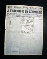 MAX SCHMELING vs. Young Stribling Heavyweight BOXING Title Fight 1931 Newspaper