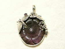 "AMETHYST CARVED FLOWER GEMSTONE PENDANT, 925 STERLING SILVER,  ""new"" AUZ SELLER"