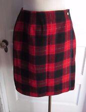 Marsh Landing 100% Wool Tartan Plaid Wrap Kilt School Girl Skirt Womens 12 Red