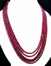 """550ct+ Heavy Designer 5 Strand Natural Ruby Lovely Beads gemstone necklace 20"""""""