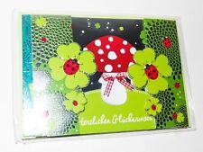 HERZLICHEN GLÜCKWUNSCH 3 Stück gefaltene Karten + farbig Umschläge + Sticker NEU